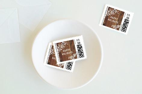 Vintage Woodgrain Holiday Stamps