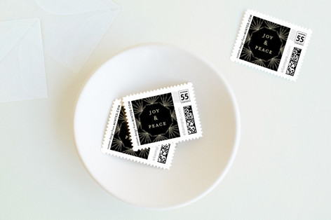 Sparkling Deco Frame Holiday Stamps