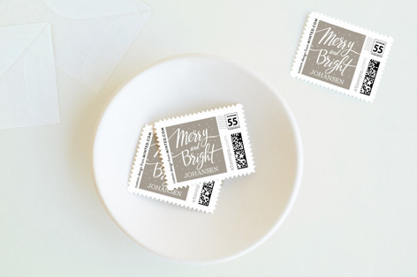 Script Merry and Bright Holiday Stamps