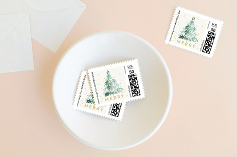 Watercolor Tree Holiday Stamps