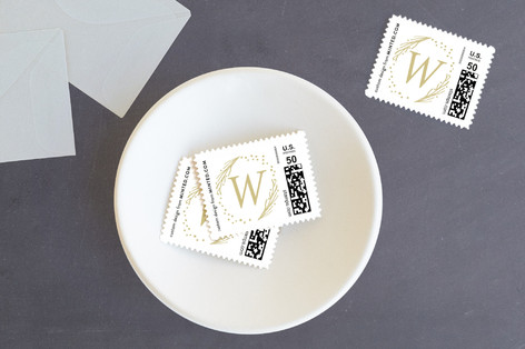 Asymmetrical Wreath Holiday Stamps