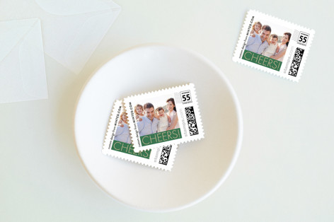 Green Cheers Holiday Stamps