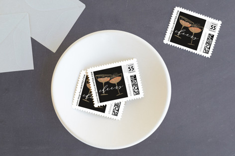 vintage champagne Holiday Stamps