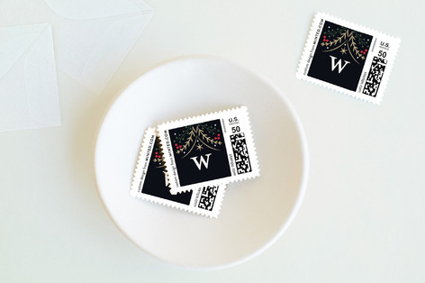 Botanical Monogram Holiday Stamps