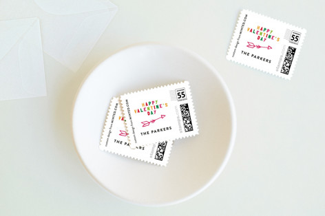 Colorful Valentines Holiday Stamps