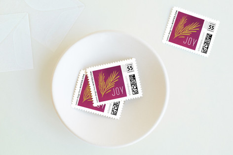 Golden Wreath Holiday Stamps
