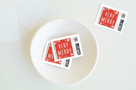 Collage Shimmer Script Holiday Stamps