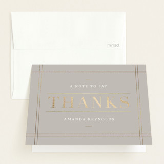 linen edge Foil-Pressed Baby Shower Thank You Cards