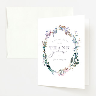 Showered Wreath Foil-Pressed Baby Shower Thank You Cards