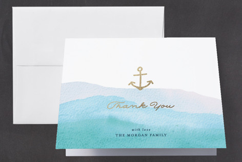 Little Sailor Foil-Pressed Baby Shower Thank You Cards
