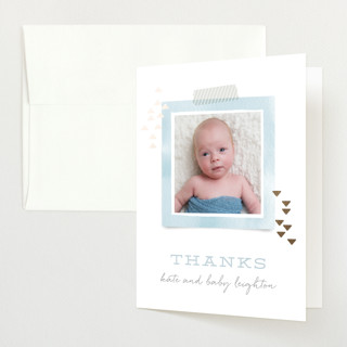 Modern Sip & See Foil-Pressed Baby Shower Thank You Cards