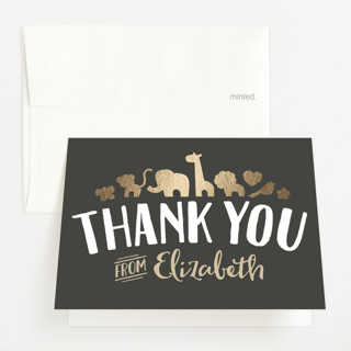 Fancy Zoo Foil-Pressed Baby Shower Thank You Cards