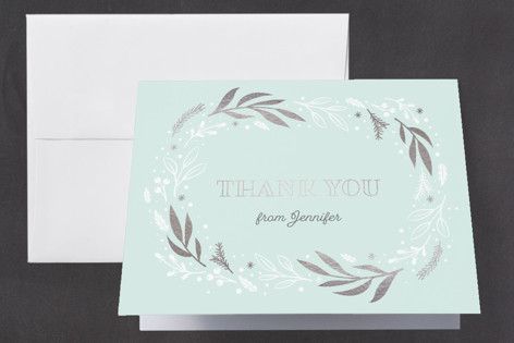 Festive Foil-Pressed Baby Shower Thank You Cards