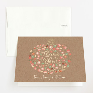 Little Pumpkin Foil-Pressed Baby Shower Thank You Cards