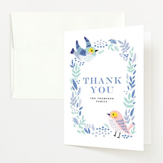 Bird Couple Baby Shower Thank You Cards