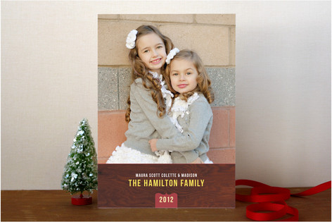 Woodgrain Holiday Photo Cards