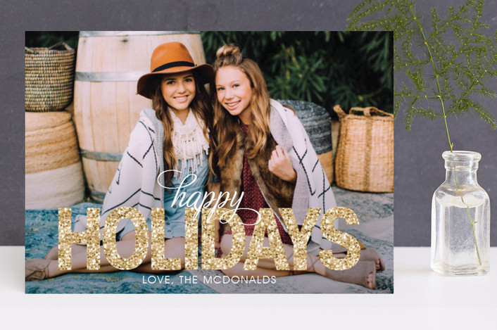 """Bold Sparkle"" - Bold typographic, Full-Bleed Photo Holiday Photo Cards in Gold by Jen Soll."