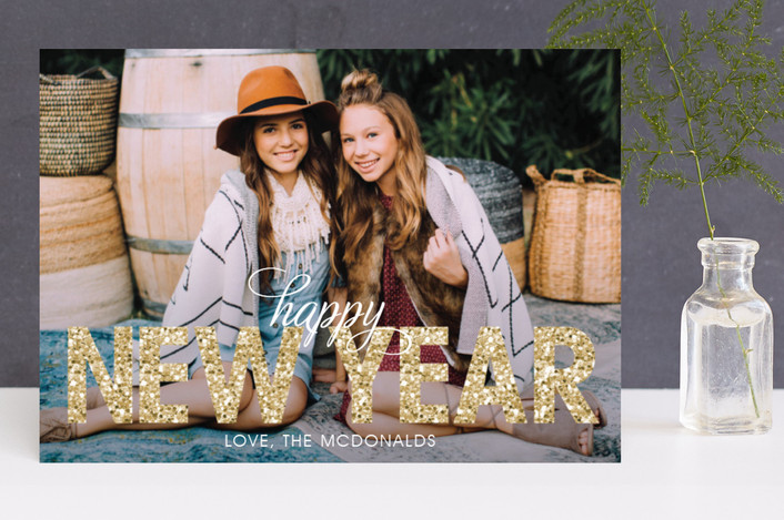 """""""Bold Sparkle"""" - Bold typographic, Full-Bleed Photo Holiday Photo Cards in Gold by Jen Soll."""