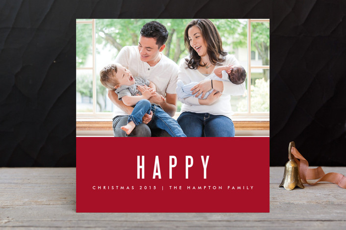 """We're Happy"" - Modern, Minimalist Holiday Photo Cards in Berry by Kate Grono."