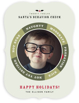 Santa&#039;s Behavior Check Holiday Photo Cards