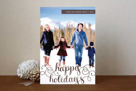 Merry Christmas Swirl Overlay Text Holiday Photo Cards
