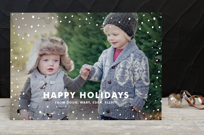 """Sprinkles"" - Full-Bleed Photo, Modern Holiday Photo Cards in Snowflake by June Letters Studio."