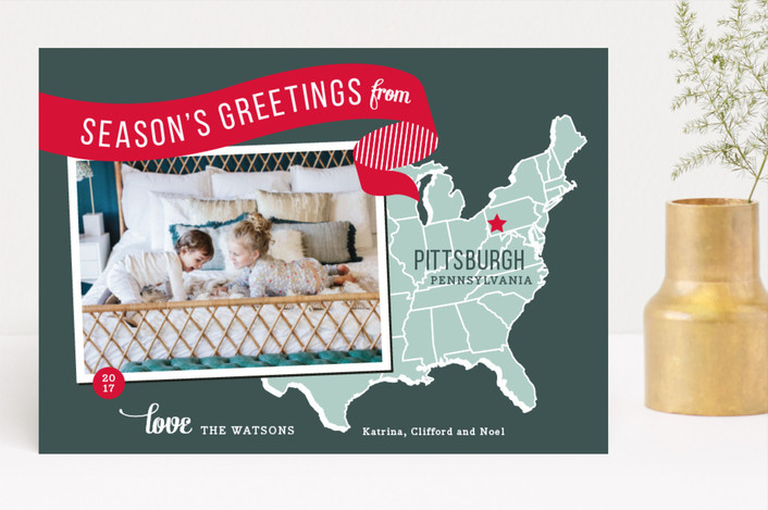 """""""Holiday Map - East Coast"""" - Cities & States, Modern Holiday Photo Cards in Cherry by Jill Means."""