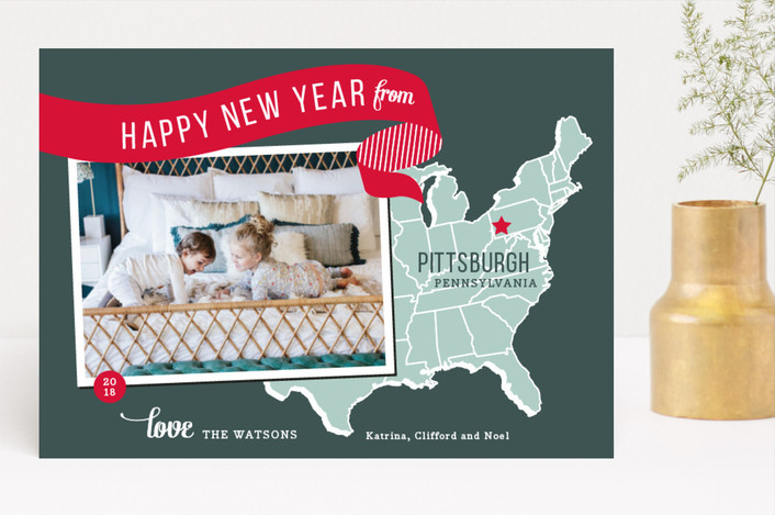 """Holiday Map - East Coast"" - Cities & States, Modern Holiday Photo Cards in Cherry by Jill Means."