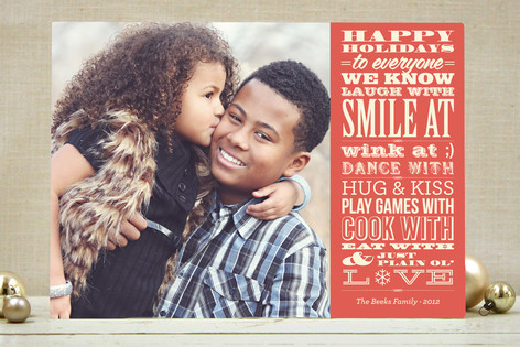 Vintage Typography Message Holiday Photo Cards