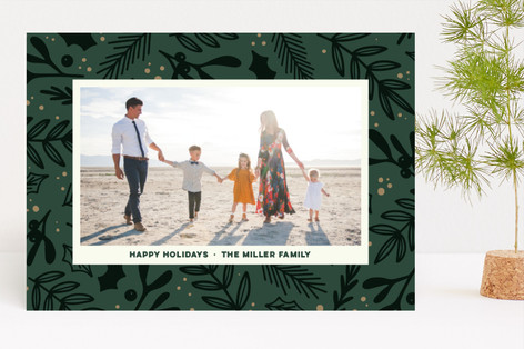 Festive Florals Holiday Photo Cards