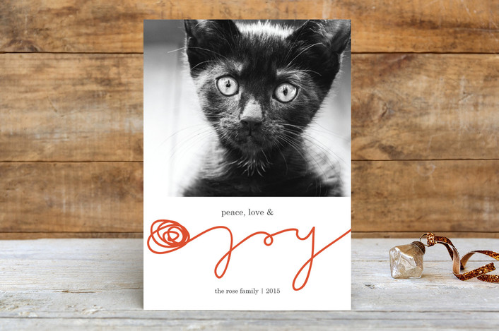 """""""Peace, Love, & Yarn"""" - Funny, Modern Holiday Photo Cards in Cherry by Sarah Johnson."""