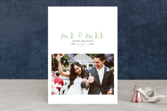 """""""First Holiday as Mr. and Mrs"""" - Elegant, Modern Holiday Photo Cards in Mint by roxy."""