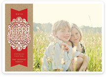 A Kraft Ribbon Holiday Photo Cards