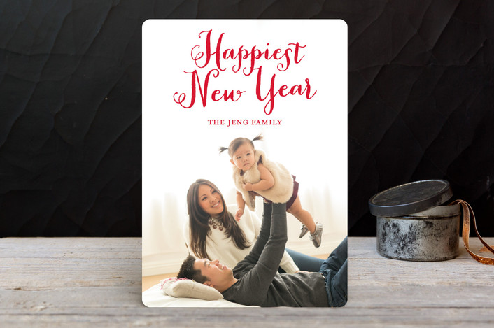 """Happiest Holidays"" - Bold typographic, Full-Bleed Photo Holiday Photo Cards in Holly by Lauren Chism."