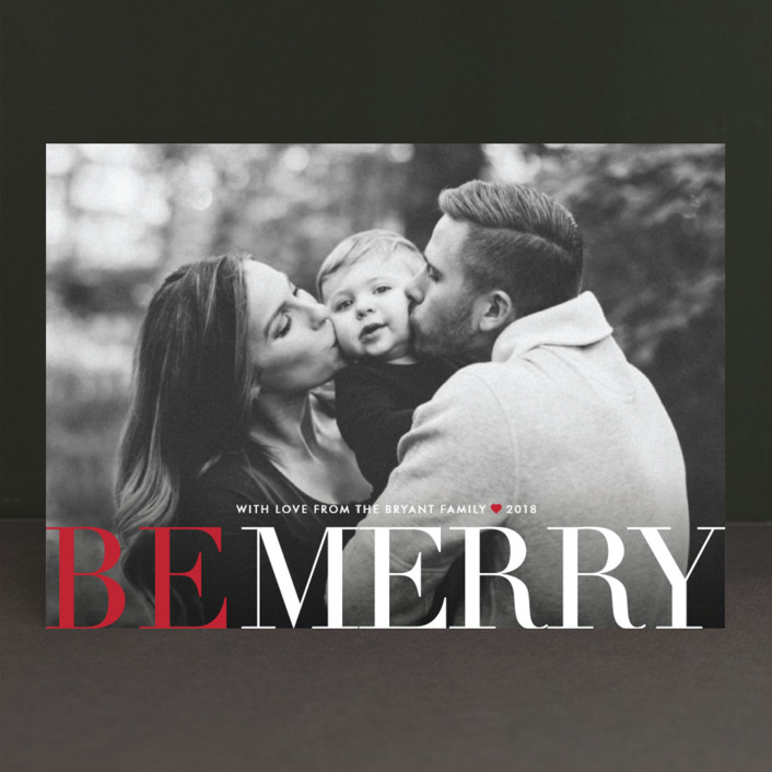 """""""Big and Merry"""" - Full-Bleed Photo, Modern Holiday Photo Cards in Ruby by Carrie ONeal."""
