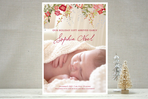 Fleurs De Noel Holiday Photo Cards