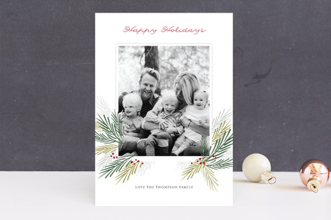Pine Boughs Holiday Photo Cards