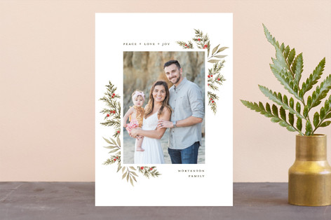 Minimal Botanical Border Holiday Photo Cards