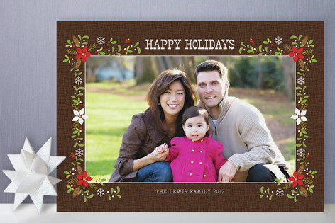 Christmas Woodsy Floral Frame Holiday Photo Cards