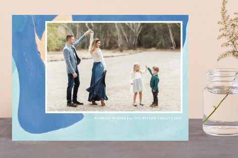 Marble Drip Holiday Photo Cards