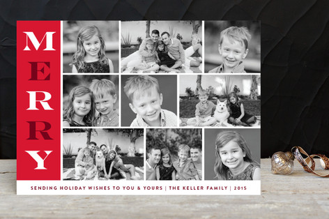 Bold Cheers Strip Holiday Photo Cards