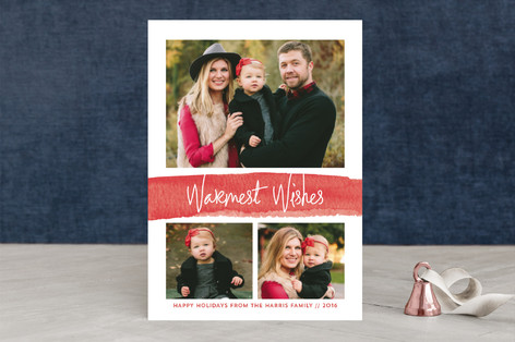 Watercolor Warm Wishes Holiday Photo Cards By Mela Minted