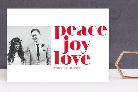 bold peace joy love Holiday Photo Cards