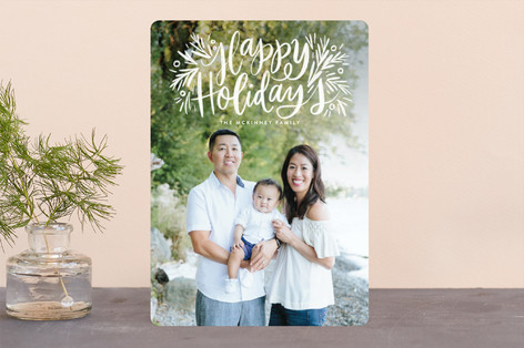 Painted Message Pine Holiday Photo Cards