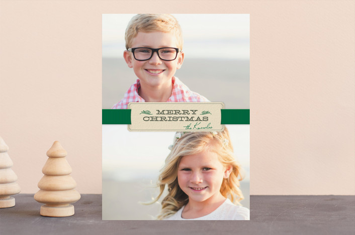 """""""Christmas Ribbon"""" - Vintage Holiday Photo Cards in Shamrock by Ann Gardner."""