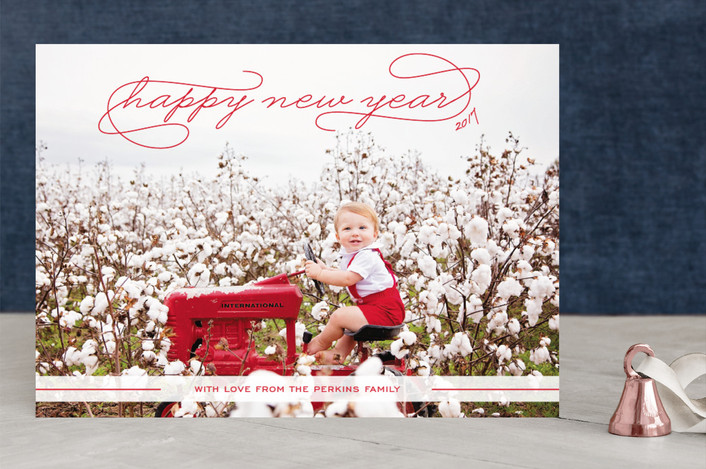 """""""Gallery Classic"""" - Full-Bleed Photo, Modern Holiday Photo Cards in Bright Red by Sydney Newsom."""