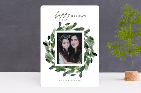 Natural Wreath Holiday Photo Cards