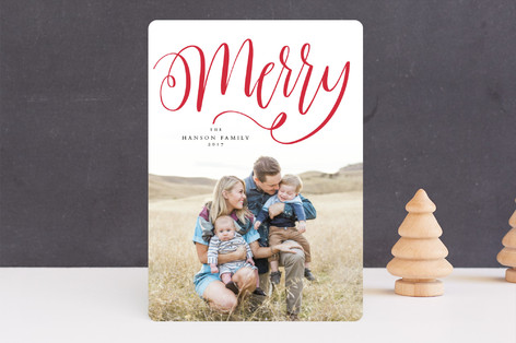 Handlettered merry Holiday Photo Cards