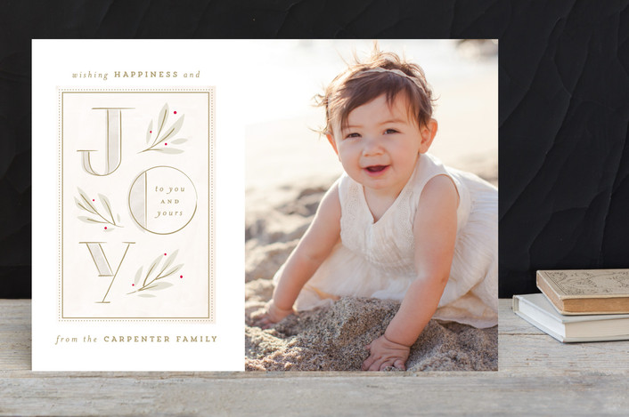 """""""Sweet and Soft Joy"""" - Modern Holiday Photo Cards in Chardonnay by Lori Wemple."""