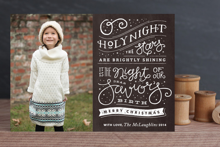 """""""Brightly Shining"""" - Bold typographic, Hand Drawn Holiday Photo Cards in Midnight by Jennifer Wick."""